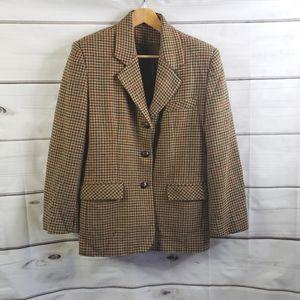 Vintage Houndstooth Blazer Jacket Preppy Academia